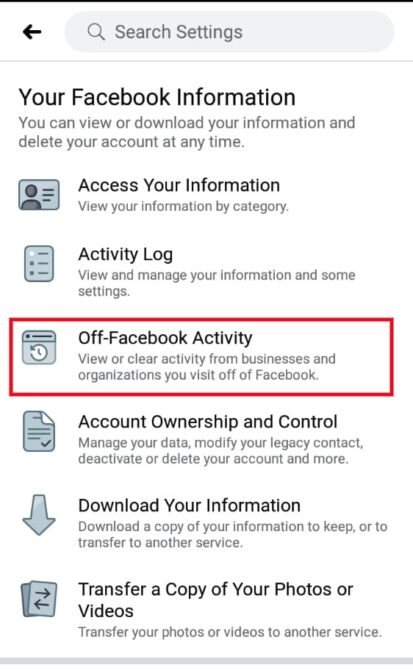 Off-Facebook activity on app