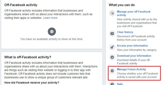 Manage future FB activity