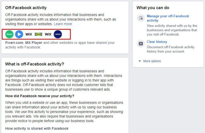 FB off-facebook activity