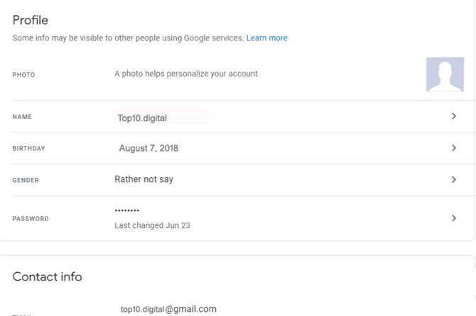 Personal Info on Google