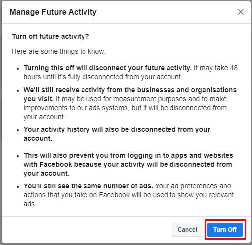 Turned off future FB activity