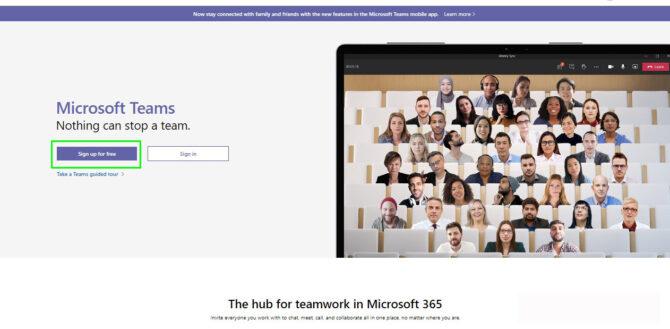 Microsoft Teams free sign up