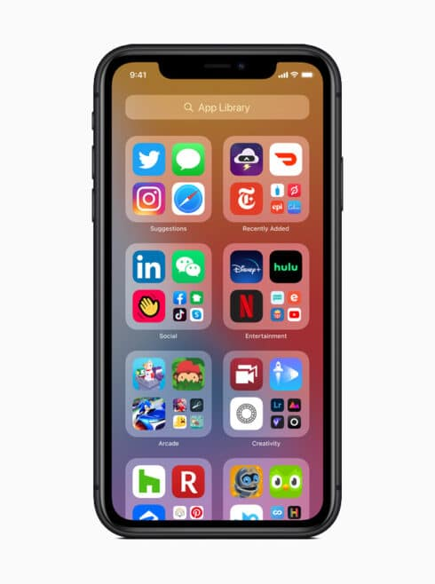 iOS 14 features : Home screen with app library