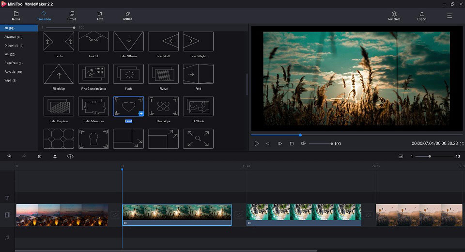 Apply Transition with MiniTool MovieMaker
