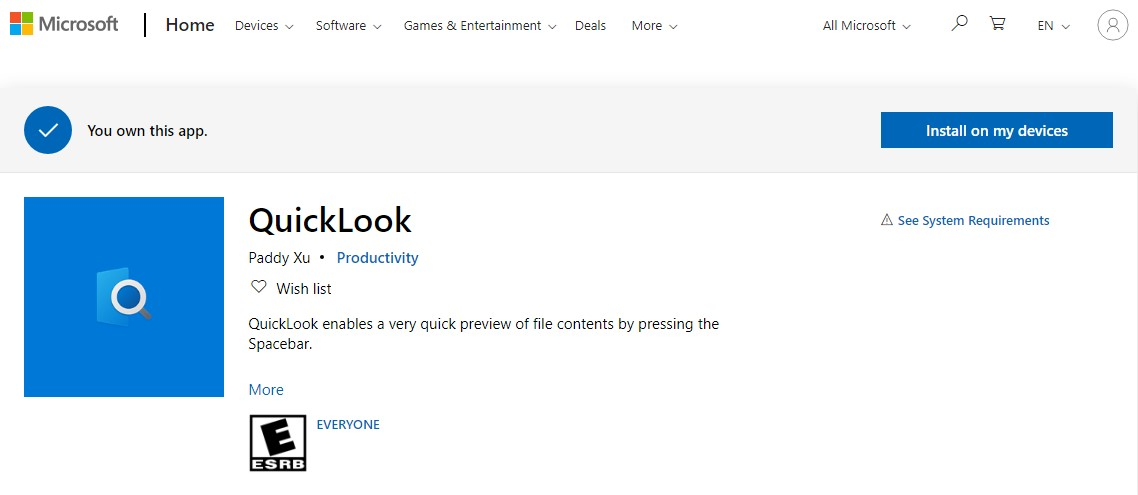 Microsoft QuickLook